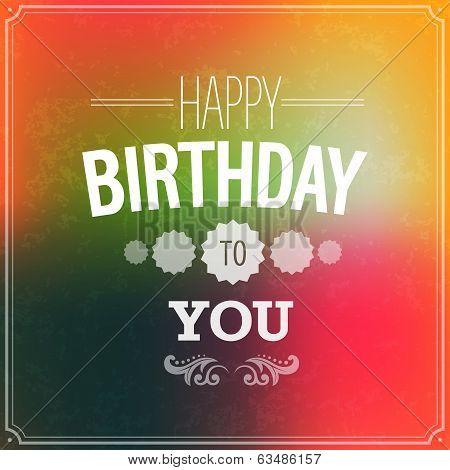 Happy Birthday Typographic Design.
