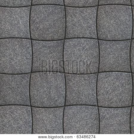 Decorative Gray Pavement of Concave and Convex Quadrilaterals. Seamless Tileable Texture. poster