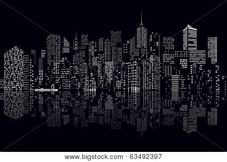 windows on abstract city skylines in black and white