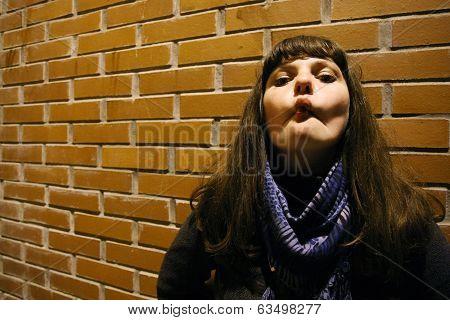 Woman Making Grimace