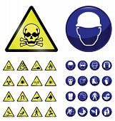 Construction mandatory health and safety and hazard warning sign collection isolated on white background poster