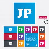Japanese language sign icon. JP Japan translation symbol. Metro style buttons. Modern interface website buttons with hand cursor pointer. Vector poster