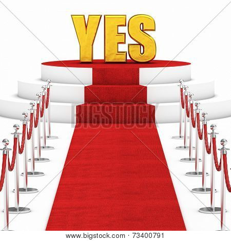 red carpet and rope barrier and golden yes