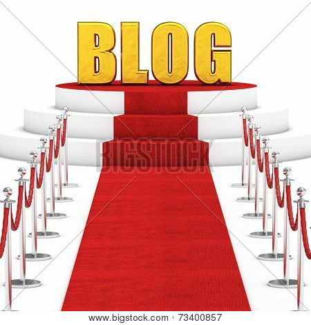 red carpet and rope barrier and golden blog