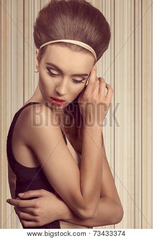 Short Portrait Of Woman In Pearls