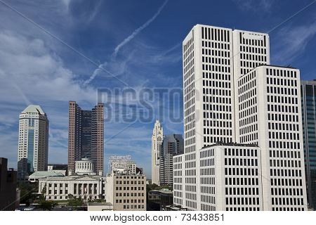 Columbus Ohio skyline viewed from the west.  The Statehouse is in the center.