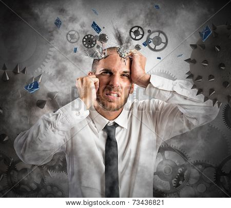 Stress explosion concept with an exhausted businessman poster