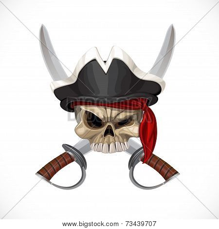 Jolly Roger in pirat hat and with sabers