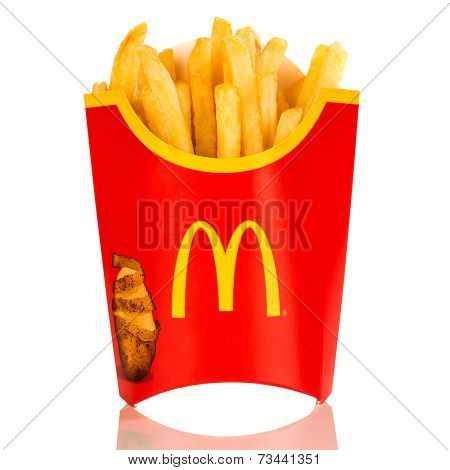 MOSCOW, RUSSIA-JULY 7, 2013: McDonald's French fries. Corporation is the world's largest chain of hamburger fast food restaurants, serving around 68 million customers daily in 119 countries