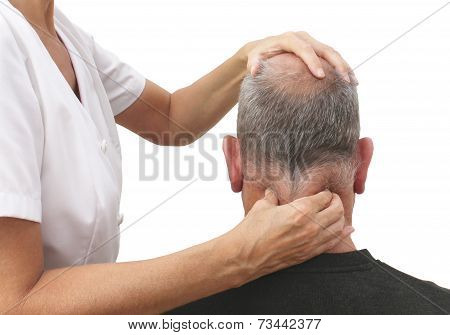 Therapist appying pressure to neck muscles