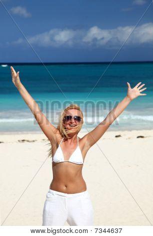 Beatuful Woman Enjoing The Beach