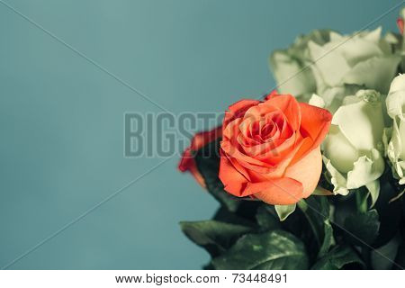 One Red Rose In A Bouquet