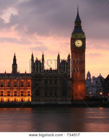 Big Ben just after sunset