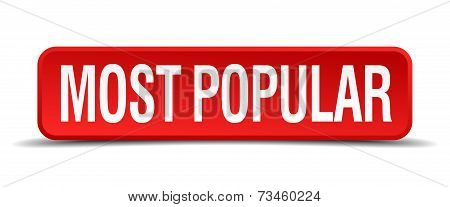 Most Popular Red 3D Square Button Isolated On White