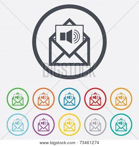 Voice mail icon. Speaker symbol. Audio message.