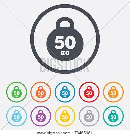 Weight sign icon. 50 kilogram (kg). Sport symbol