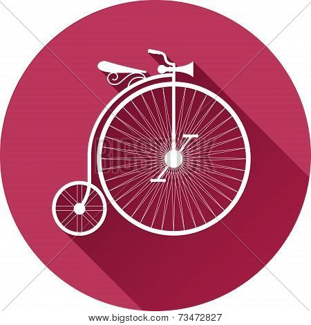 retro-style illustration of old vintage bicycle flat design