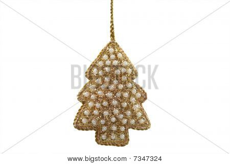 Golden Christmas Tree With Pearls