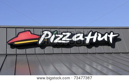 Pizza Hut Sign On A Store Front