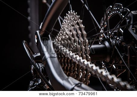 Rear mountain bike cassette on the wheel, studio shot.