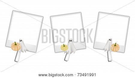 Blank Photos with Halloween Pumpkin and Ghost