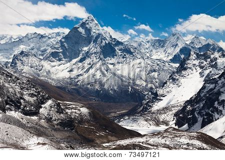 Mountains Ama Dablam at the blue sky with clouds on a sunny day. Himalayas poster