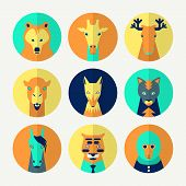 Stylized animal avatar set in flat style for social networks. Bright colors poster