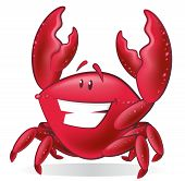 Great illustration of a Cute Cartoon Crab holding up his Pincer Claws. poster