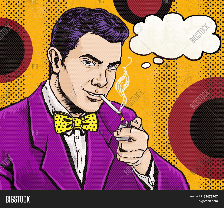 Free Comic Book Day Values: Vintage Pop Art Man Cigarette Image & Photo