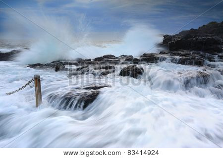 Wild Waves At Blowhole Point Rock Pool