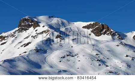 Chair Lift And Ski Slopes, Flumserberg