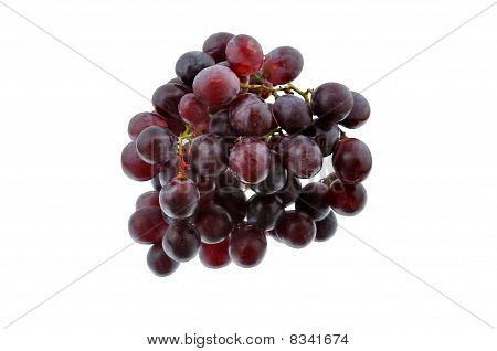 Red Grapes On Mirror, Isolate White Background