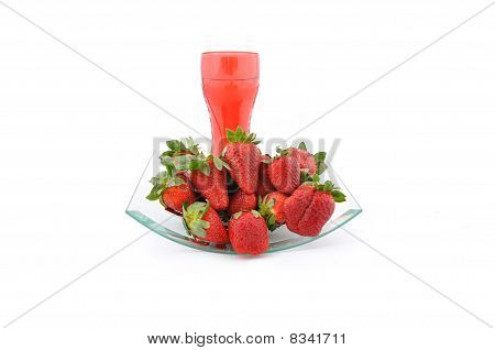 Strawberries And Red Glass Of Water