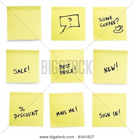 Yellow Sticky Papers With Trendy Slogans.