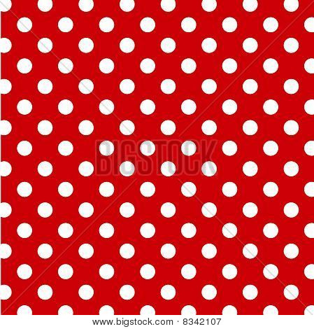 Seamless Polka Dot Pattern, Red Background
