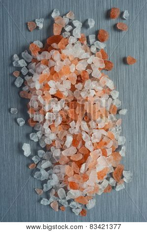 Himalayan Crystal Rock Salt on brushed metal background