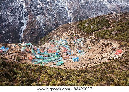 Namche Bazaar aerial view Everest trek Himalaya Nepal poster