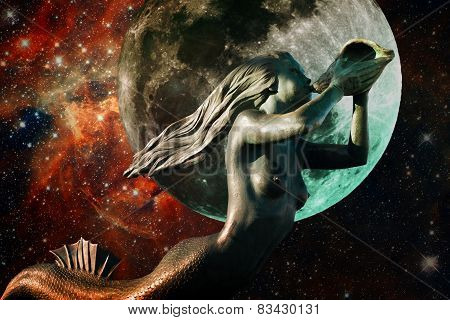 Mermaid, Moon And 30 Doradus Nebula (elements Of This Image Furn
