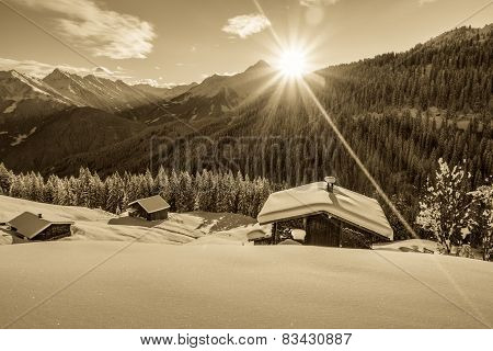 Sunrise over the ski huts