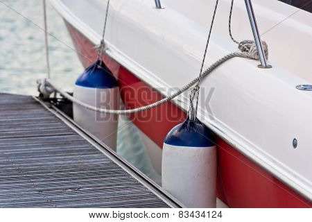 Sailboat Side Fenders Closeup. Boat Protection