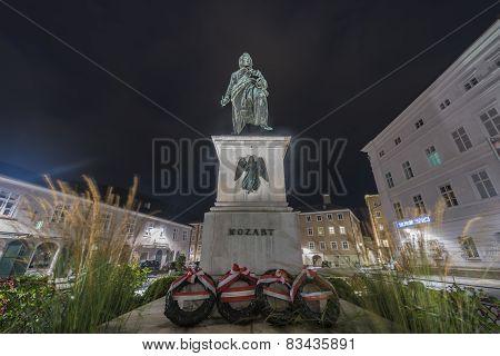 Mozart Statue On Mozart Square (mozartplatz) In Salzburg, Austria