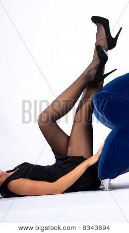 Sexy Lady In Black Dress