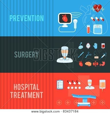 Surgery concept horizontal banners set