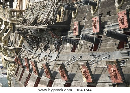 Cannons on an old pirate ship