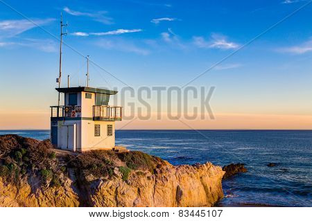 Lifeguard Station At Sunset In Southern California