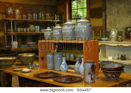 Display of Crockery Pottery