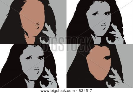 Girl on Cell Phone, Illustration