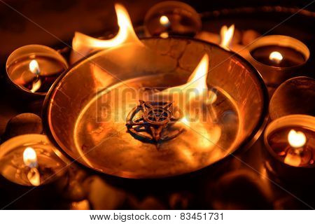 Ancient pentagram burning