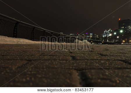 Pavement. Night. Winter