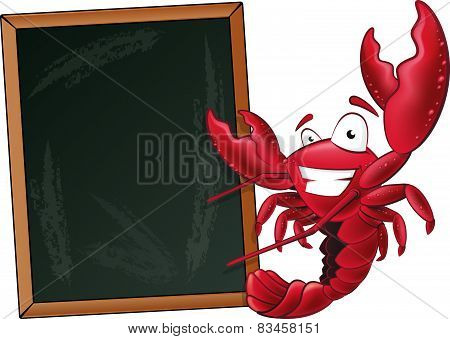 Cute Lobster With Sign Board.